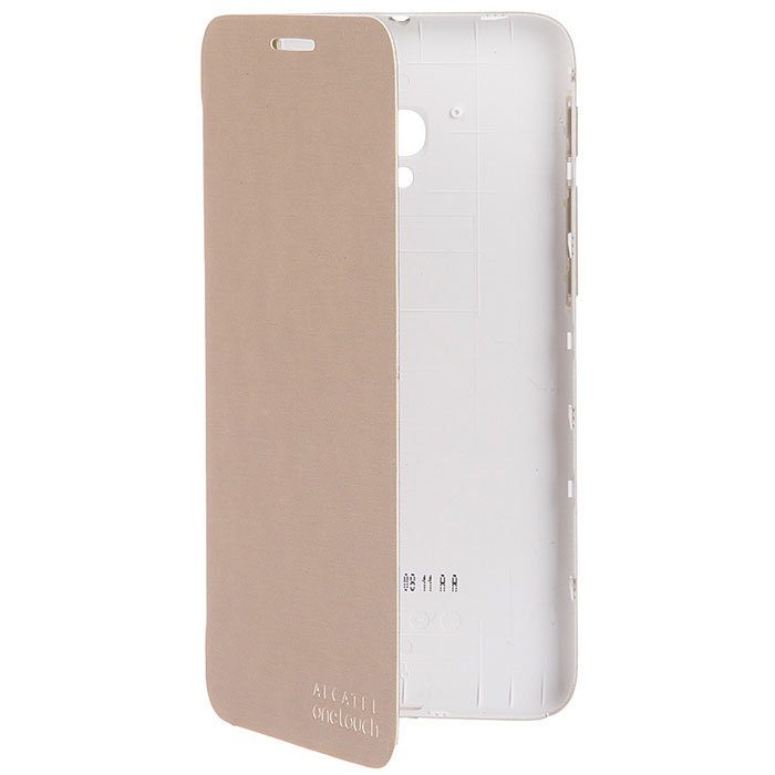 Alcatel чехол для OT-5015D Pop 3, Soft GoldFC5015Чехол-книжка Alcatel для OT-5015D Pop 3 с задней крышкой не увеличивает размеры аппарата и служит для надежной защиты смартфона от механических повреждений. Чехол имеет все необходимые технологические вырезы, в то время как дисплей защищен обложкой. Пластиковый бампер крепится на заднюю крышку смартфона.