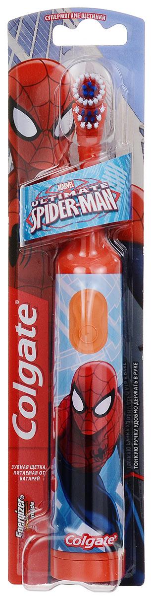 Colgate Зубная щетка Spider-Man, электрическая, с мягкой щетиной, цвет: оранжевыйFCN10038_оранжевыйColgate Spider-Man - детская электрическая зубная щетка с мягкой щетиной. Маленькая вибрирующая головка с очень мягкими щетинками очищает детские зубы и бережно удаляет налет. Она идеально подходит для развития навыков гигиены полости рта, а благодаря яркому, привлекательному дизайну ежедневная чистка зубов станет удовольствием для вашего ребенка. Эргономичная ручка не скользит в ладони, амортизирует давление руки на нежную поверхность десен. Разноуровневые щетинки тщательно очищают как маленькие, так и большие зубы. Зубная щетка работает от двух батареек типа ААА. Батарейки в комплекте.