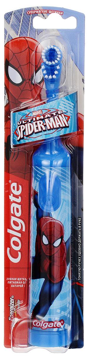 Colgate Зубная щетка Spider-Man, электрическая, с мягкой щетиной, цвет: голубойFCN10038_голубойColgate Spider-Man - детская электрическая зубная щетка с мягкой щетиной. Маленькая вибрирующая головка с очень мягкими щетинками очищает детские зубы и бережно удаляет налет. Она идеально подходит для развития навыков гигиены полости рта, а благодаря яркому, привлекательному дизайну ежедневная чистка зубов станет удовольствием для вашего ребенка. Эргономичная ручка не скользит в ладони, амортизирует давление руки на нежную поверхность десен. Разноуровневые щетинки тщательно очищают как маленькие, так и большие зубы. Зубная щетка работает от двух батареек типа ААА. Батарейки в комплекте.