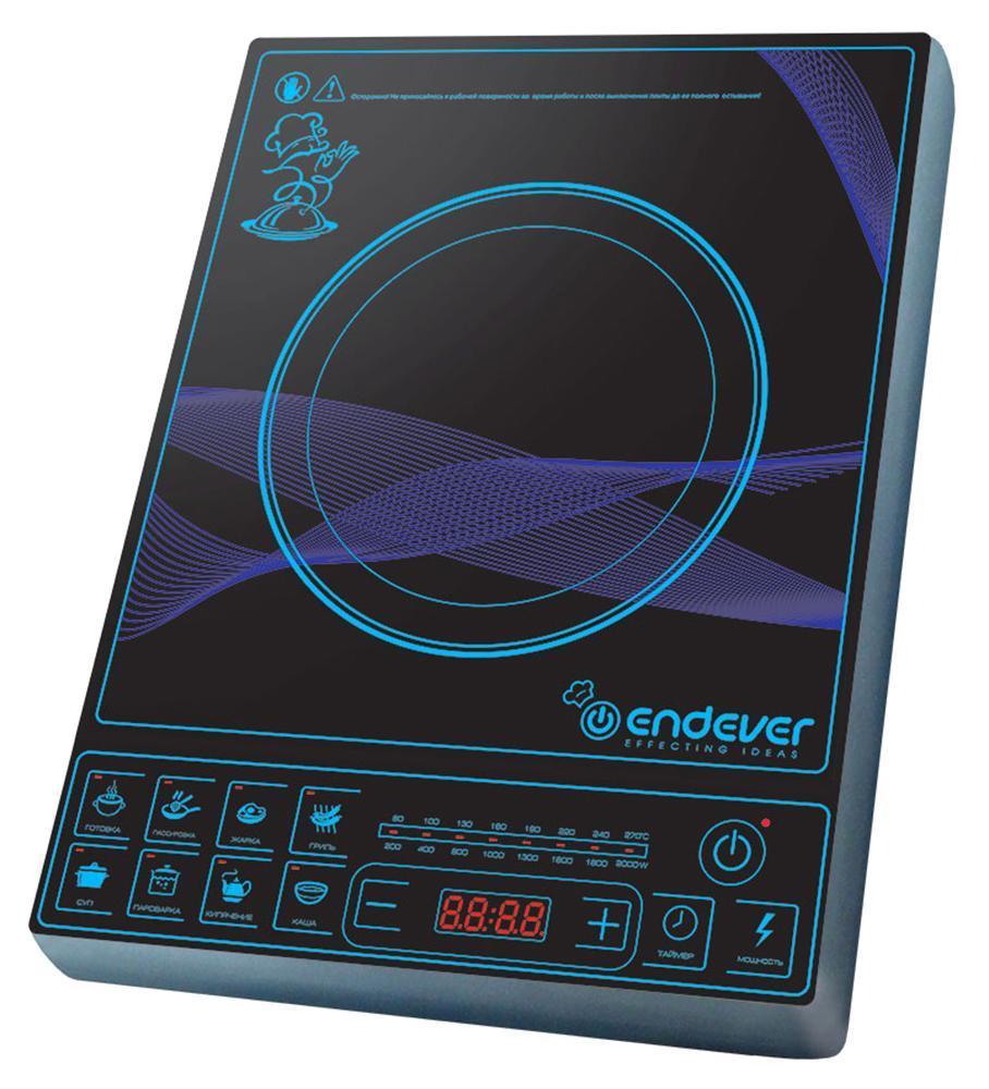 Endever IP-28 индукционная плитаIP-28Индукционная плитка Endever Skyline IP-28 - это настольная электрическая плитка с варочной панелью и индукционной конфоркой. Электрический ток, проходя через медную катушку, находящуюся под конфоркой, индуцирует высокочастотный вихревой ток, который моментально нагревает дно посуды, а с ним и пищу. Таким образом, нагревается не конфорка, а непосредственно сама посуда, находящаяся на ней.Преимущества: Экономичность. Индукционная плитка Endever Skyline IP-28 потребляет в несколько раз меньше электроэнергии, чем обычная электрическая, за счет того, что конфорка автоматически подстраивается под диаметр дна посуды и нагревает только необходимую площадь. Она экономит не только энергию, но и Ваше время. За счёт большой мощности (2000 Вт) быстро нагревается и постоянно поддерживает необходимую температуру, что значительно сокращает время приготовления пищи. Безопасность. В индукционной плитке нет открытого огня или раскаленной конфорки. Кроме того, плитка включается только при наличии подходящей посуды. Если посуда не обладает ферромагнитными свойствами, стоит пустая или вообще отсутствует на конфорке, то плитка автоматически отключается. Всё это снижает вероятность получения ожогов и возникновения пожара. Комфорт. При использовании индукционной плитки не бывает дыма и чада, ведь пища, случайно попавшая на поверхность, не пригорает. Все загрязнения легко устраняются с помощью влажной тряпки. Поскольку сама конфорка практически не нагревается, то даже при длительном её использовании, температура в помещении не повышается, что снижает необходимость постоянного кондиционирования или проветривания. Удобство. Управление индукционной плиткой легко и понятно. С помощью цифрового дисплея и кнопок на передней панели, можно точно установить заданную температуру, мощность и время приготовления пищи. Практичность. Небольшую компактную плитку можно легко и удобно разместить на любой кухне или взять с собой на дачу. Дизайн. Благодаря современному элег