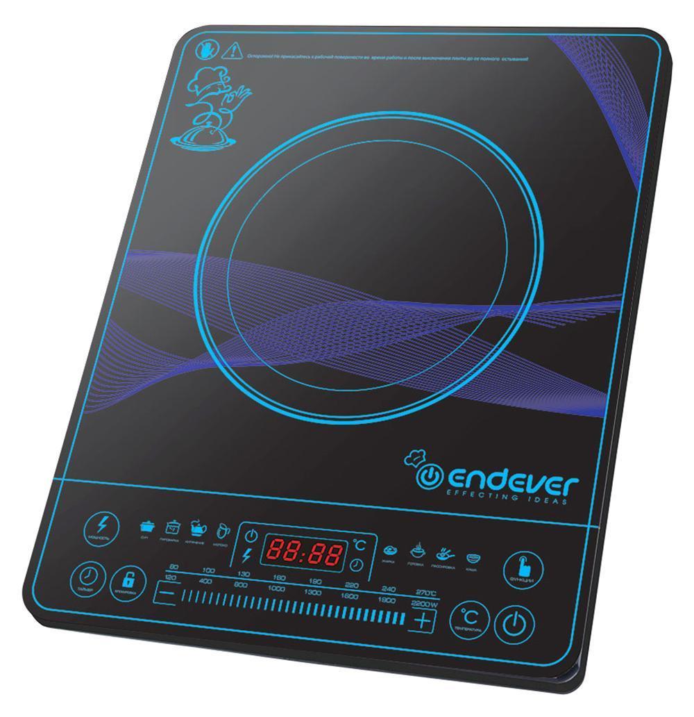 Endever IP-32 индукционная плитаIP-32Индукционная плитка Endever Skyline IP-32 - это настольная электрическая плитка с варочной панелью и индукционной конфоркой. Электрический ток, проходя через медную катушку, находящуюся под конфоркой, индуцирует высокочастотный вихревой ток, который моментально нагревает дно посуды, а с ним и пищу. Таким образом, нагревается не конфорка, а непосредственно сама посуда, находящаяся на ней.Преимущества:Экономичность. Индукционная плитка Endever Skyline IP-32 потребляет в несколько раз меньше электроэнергии, чем обычная электрическая, за счет того, что конфорка автоматически подстраивается под диаметр дна посуды и нагревает только необходимую площадь. Она экономит не только энергию, но и Ваше время. За счёт большой мощности (2200 Вт) быстро нагревается и постоянно поддерживает необходимую температуру, что значительно сокращает время приготовления пищи. Безопасность. В индукционной плитке нет открытого огня или раскаленной конфорки. Кроме того, плитка включается только при наличии подходящей посуды. Если посуда не обладает ферромагнитными свойствами, стоит пустая или вообще отсутствует на конфорке, то плитка автоматически отключается. Всё это снижает вероятность получения ожогов и возникновения пожара. Комфорт. При использовании индукционной плитки не бывает дыма и чада, ведь пища, случайно попавшая на поверхность, не пригорает. Все загрязнения легко устраняются с помощью влажной тряпки. Поскольку сама конфорка практически не нагревается, то даже при длительном её использовании, температура в помещении не повышается, что снижает необходимость постоянного кондиционирования или проветривания. Удобство. Управление индукционной плиткой легко и понятно. С помощью цифрового дисплея и кнопок на передней панели, можно точно установить заданную температуру, мощность и время приготовления пищи. Практичность. Небольшую компактную плитку можно легко и удобно разместить на любой кухне или взять с собой на дачу. Дизайн. Благодаря современному элега