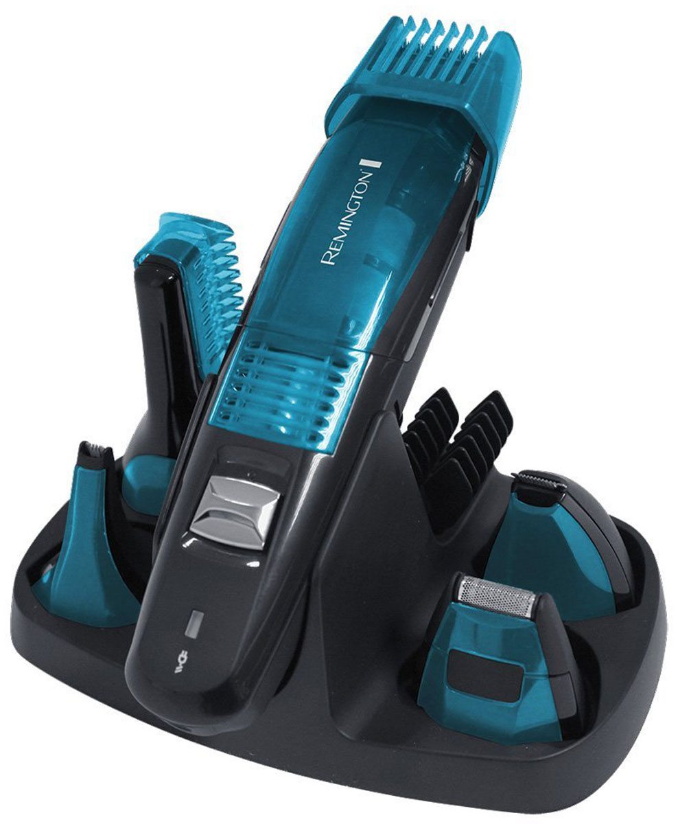 Remington PG6070 триммерPG6070Вакуумный набор для ухода за волосами Remington PG6070 отлично подойдет занятым и стильным мужчинам, желающим иметь универсальный прибор, который справится со множеством задач. В комплекте идут 5 насадок: 3 вакуумных головки и 2 стандартные насадки удовлетворят все ваши потребности в стрижке, а встроенная вакуумная технология эффективно засасывает все волоски, сохраняя чистоту во время стрижки.Благодаря этой усовершенствованной технологии, вы будете отлично выглядеть, и при этом станете меньше времени тратить на стрижку! Remington PG6070 поставляется с удобной косметичкой и снабжен литиевым аккумулятором, который обеспечит длительное время работы до 60 минут, благодаря чему он станет вашим идеальным спутником в путешествиях.Лезвия с покрытием из усовершенствованного титана2 насадки с вакуумной технологиейТриммер для носа и ушей2 стандартные насадки1 регулируемая насадка-гребень (2-16 мм)4 насадки-гребни с фиксированной длиной (3, 6, 9, 12 мм)Полная зарядка в течение 4 часовНасадки-головки легко промываются