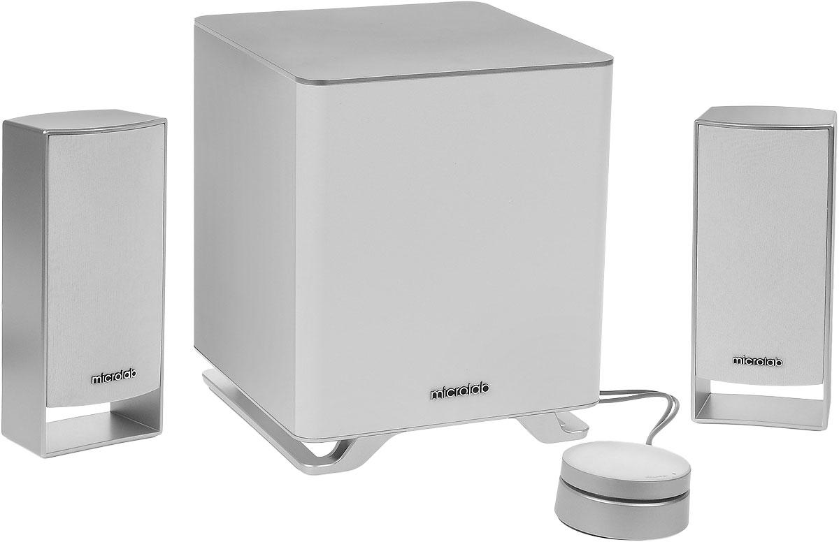 Microlab M-600 2.1, White акустическая системаM-600 2.1Microlab M-600 2.1 - современная акустическая система 2.1 с сабвуфером. Она создана для качественного воспроизведения аудиоконтента: музыки, фильмов, игр и других задач. Отдельный сабвуфер создает глубокий и насыщенный звук на низких частотах.Колонки с качественными динамиками обеспечивают сбалансированное и чистое звучание. Именно поэтому Microlab М-600 - это настоящий центр музыки в вашем пространстве. Система совместима с любыми мультимедийными приложениями. Имеется возможность подключения к смартфону, планшету, МРЗ, CD/DVD-проигрывателю, ЖК-ТВ, ПК или ноутбуку. Слушайте вашу любимую музыку в формате МРЗ, наслаждаясь всеми красками и глубиной звука. Регулировка громкости и низких частот находится на выносном пульте-панели для комфортного использования системы.Особенности:Специально разработанные корпуса сабвуфера и колонок с диффузорами для глубокого и насыщенного звукаРазделение каналов: 45 дБНелинейные искажения: 0,3 % (1Вт на 1 кГц)Диаметр твитера: 2,5Диаметр сабвуфера: 5,25