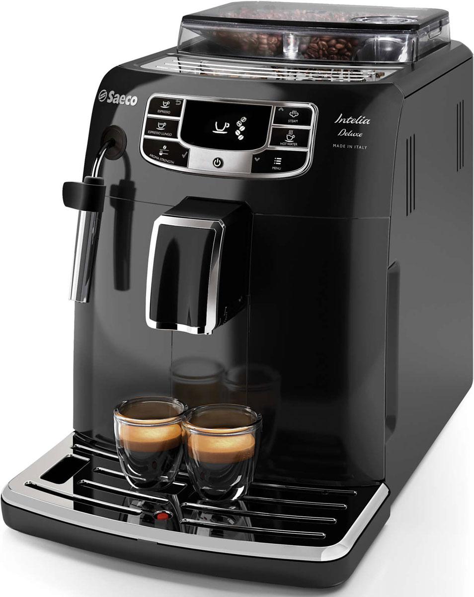 Philips HD8887/19 Saeco Intelia Deluxe, Black кофемашинаHD8887/19Philips HD8887/19 — интеллектуальная и удобная в использовании кофемашина, которая готовит великолепный кофе высочайшего качества. Элегантный дизайн корпуса неподвластен времени. Надежные 100% керамические жернова гарантируют наслаждение отличным кофе в течение долгих лет. Керамика обеспечивает идеальный помол зерен, благодаря чему вода равномерно проникает в них, впитывая вкус и аромат. В отличие от обычных, керамические жернова не перегревают зерна и устраняют жженый привкус напитка.Классический капучинатор создан для тех, кто хочет почувствовать себя настоящим бариста. С помощью классического капучинатора вы за считаные секунды сможете создать украшение для любимого напитка — нежную молочную пену. Благодаря быстрому нагреву бойлера нет причины отказывать себе в чашке превосходного эспрессо или капучино, даже если вы спешите на важную встречу. Секрет заключается в легком корпусе бойлера, выполненном из алюминия и нержавеющей стали, который быстро нагревается до высокой температуры.Эта кофемашина удовлетворит даже самые взыскательные требования к помолу кофе. Чтобы вкус кофе раскрылся по-настоящему, для каждого сорта нужно подобрать подходящую степень помола. Выберите одну из 10 степеней помола — от самого тонкого для насыщенного крепкого эспрессо до самого грубого для мягкого классического кофе.Выберите один из пяти уровней крепости, объем и температуру. С помощью функции памяти сохраните нужный объем для каждого напитка. Philips HD8887/19 запомнит выбранные настройки, и вы всегда будете наслаждаться напитком нужного объема, приготовленным так, как нравится именно вам.Благодаря широкому выбору — от эспрессо до капучино — каждый ценитель кофе найдет напиток, который придется ему по вкусу. Чашка бодрящего кофе утром или после обеда — вы сможете легко приготовить кофе для любого времени суток. Запатентованный фильтр AquaClean обеспечивает максимально эффективное использование устройства. Меняйте фильтр 