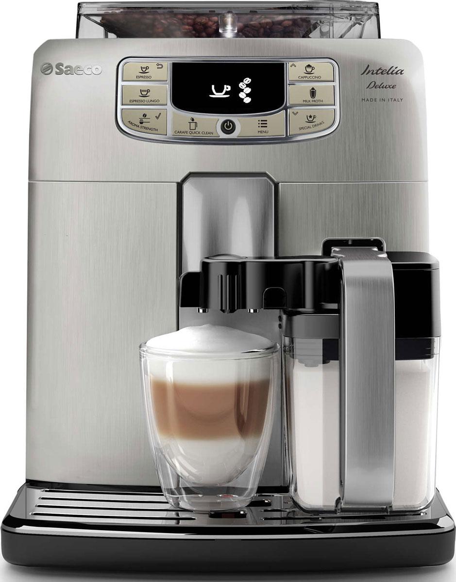 Philips HD8889/19 Saeco Intelia Deluxe, Silver кофемашинаHD8889/19Philips HD8889/19 Saeco Intelia Deluxe — интеллектуальная и удобная в использовании кофемашина, которая готовит великолепный кофе высочайшего качества. Элегантный дизайн корпуса из нержавеющий стали неподвластен времени. Надежные 100% керамические жернова гарантируют наслаждение отличным кофе в течение долгих лет. Керамика обеспечивает идеальный помол зерен, благодаря чему вода равномерно проникает в них, впитывая вкус и аромат. В отличие от обычных, керамические жернова не перегревают зерна и устраняют жженый привкус напитка.Каждый напиток будет украшен нежной молочной пенкой, которая идеально дополнит вкус кофе. Кувшин для молока дважды взбивает молоко и подает сливочную пенку прямо в чашку без разбрызгивания и при оптимальной температуре. Вы можете хранить кувшин в холодильнике и мыть в посудомоечной машине для поддержания идеальной чистоты. Благодаря быстрому нагреву бойлера нет причины отказывать себе в чашке превосходного эспрессо или капучино, даже если вы спешите на важную встречу. Секрет заключается в легком корпусе бойлера, выполненном из алюминия и нержавеющей стали, который быстро нагревается до высокой температуры.Philips HD8889/19 Saeco Intelia Deluxe удовлетворит даже самые взыскательные требования к помолу кофе. Чтобы вкус кофе раскрылся по-настоящему, для каждого сорта нужно подобрать подходящую степень помола. Выберите одну из 10 степеней помола — от самого тонкого для насыщенного крепкого эспрессо до самого грубого для мягкого классического кофе.Выберите один из пяти уровней крепости, объем и температуру. С помощью функции памяти сохраните нужный объем для каждого напитка. Кофемашина запомнит выбранные настройки, и вы всегда будете наслаждаться напитком нужного объема, приготовленным так, как нравится именно вам.Благодаря широкому выбору — от эспрессо до капучино — каждый ценитель кофе найдет напиток, который придется ему по вкусу. Чашка бодрящего кофе утром или после обеда — вы смо