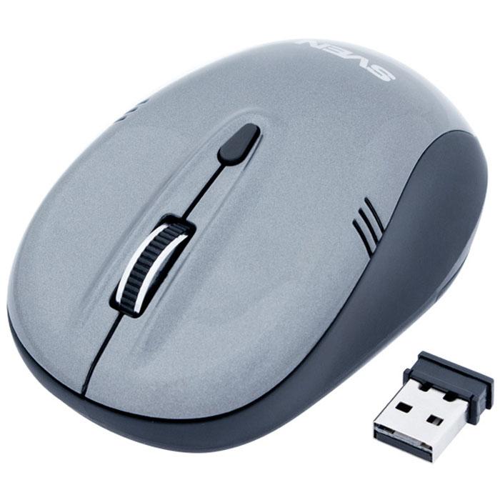 Sven RX-330 Wireless, Gray мышьSV-03200330WКомпания Sven представляет компьютерную мышь Sven RX-330 Wireless, упакованную в блистер с комфортным способом вскрытия. Прелесть такого решения состоит в том, что часть задника имеет перфорацию. Там же сделано отверстие, зацепив и потянув за которое, можно удалить пластик и достать устройство без лишних усилий.Верхняя часть корпуса манипулятора отделана глянцем, который нечувствителен к царапинам. В данном случае представительницы прекрасного пола, знакомые со столь популярной сегодня технологией лакового маникюра Shellac, могут найти тематическое пересечение и, таким образом, убедиться в устойчивости используемых материалов к царапинам и сколам. Компактный размер и беспроводной тип устройства рассчитан, прежде всего, на работу вкупе с ноутбуком. Вместе с тем эта мышь будет достойно смотреться и рядом со стационарным монитором на рабочем столе в офисе современной бизнес-леди. Симметричный корпус подойдет как для правшей, так и левшей. Эргономика корпуса, к тому же, обеспечивает удобное положение запястья и пальцев на протяжении всей работы.Технология Wireless значительно расширяет потенциал управления компьютером в прямом и переносном смысле. Пользователь не загромождает свое рабочее место дополнительными проводами, а также, в случае необходимости, может работать удаленно от монитора (до нескольких метров). Sven RX-330 Wireless оснащена кнопкой переключения оптического разрешения 1000/1600 dpi, которая позволяет подобрать оптимальный для пользователя режим работы мыши.