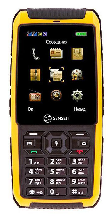 SENSEIT P101, YellowDRP101YELLOWSENSEIT P101 - всепогодный телефон с уровнем защиты IP68 и поддержкой двух SIM-карт. Он подойдет представителям тех профессий, которые ежедневно сталкиваются с трудностями и не привыкли сидеть на одном месте. Строители, военные, альпинисты, поклонники экстремальных видов спорта - все они оценят защитные функции SENSEIT P101. Телефон соответствует стандарту IP68 - он не боится пыли и грязи и легко выдержит длительное погружение в воду, а поддержка двух активных SIM-карт позволит его владельцу оставаться на связи в любой экстремальной ситуации. Если вы цените надежность и не хотите переплачивать за ненужные функции, тогда этот телефон для вас!Телефон сертифицирован Ростест и имеет русифицированный интерфейс меню, а также Руководство пользователя.