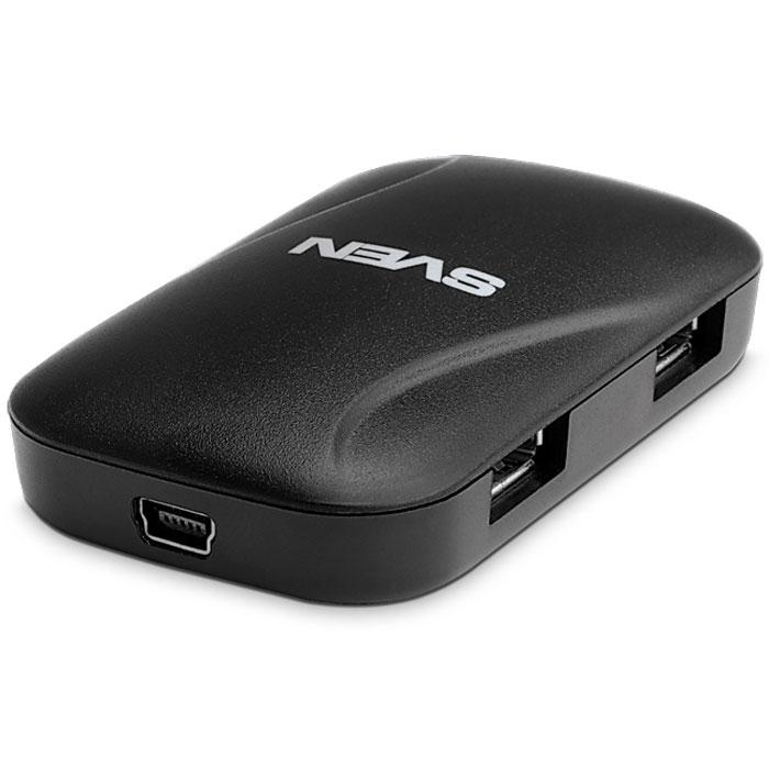 Sven HB-011, Black USB-концентраторSV-011345Практически каждый компьютер или ноутбук в настоящее время оснащен несколькими USB-портами, но при активном использовании ПК в скором времени становится понятно, что имеющихся в наличии портов уже недостаточно. Это связано с тем, что к компьютерам подключаются не только клавиатуры и компьютерные мыши, но и другие устройства, телефоны, плееры, графические планшеты, игровые приставки и многое другое. Помочь решить эту проблему призваны USB-хабы – портативные устройства небольшого размера, с помощью которых легко увеличить количество USB-портов. В свою очередь, именно к ним присоединяют все остальные устройства, имеющие USB-выход. Новый усовершенствованный USB-хаб Sven HB-011 оперативно обеспечит вас дополнительными USB-портами в офисе или дома.Компактный 4-портовый USB-концентратор Sven HB-011 предназначен для одновременного подключения четырех USB-устройств к свободному USB-порту компьютера.Совместимость: Windows XP/Vista/7/8Длина кабеля: 1,2 м
