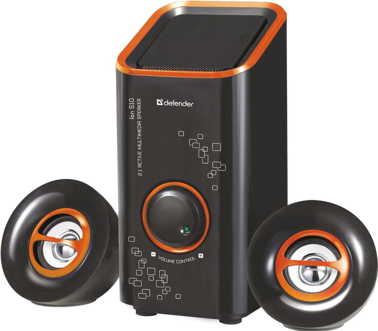 Defender ION S10, Black акустическая система 2.1ION S10, BlackDefender ION S10 - компактная акустическая система 2.1. Компактные размерыАкустическая система займет минимум места на рабочем столе. Регулятор громкостиРегулятор громкости расположен на передней панели сабвуфера. Вам больше не придется переключаться на управление вашим медиаплеером, чтобы изменить громкость. Магнитная экранировкаЧеткая картинка без помех гарантирована даже при расположении колонок в непосредственной близости от монитора.
