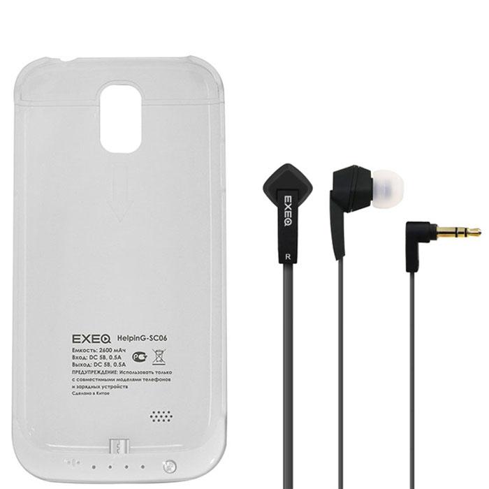 EXEQ HelpinG-SC06 чехол-аккумулятор для Samsung Galaxy S4, White (2600 мАч, клип-кейс)HelpinG-SC06 WHExeq HelpinG-SС06 – универсальный аксессуар, благодаря которому ваш смартфон не только будет надежно защищен, но обеспечен своевременной подзарядкой! Exeq HelpinG-SС06 выполнен из прочного прорезиненного пластика, который надежно защитит смартфон от ударов, царапин и загрязнений. Встроенный аккумулятор емкостью в 2600 мАч обеспечит подзарядку батареи смартфона в самые нужные моменты его использования.В качестве приятного дополнения Exeq HelpinG-SС06 имеет откидывающуюся подставку. Специальная конструкция чехла с выдвижной верхней частью позволит удобно и надежно поместить телефон в чехол, а при необходимости легко и быстро достать телефон из чехла. Хотя извлекать телефон из надежного Exeq HelpinG-SС06 вам вряд ли понадобится – заряжать телефон можно непосредственно в чехле, подключив к нему зарядное устройство телефона и нажав кнопку питания на чехле. Если кнопку питания не нажимать, то будет происходить зарядка чехла-аккумулятора. Аналогично происходит и подключение телефона к компьютеру – чехол-аккумулятор обеспечивает идеальную передачу данных между смартфоном и другими электронными устройствами.В комплект также входят высококачественные наушники Exeq HPC-002 с плоским кабелем с защитой от спутывания. Для блокировки нежелательных шумов в комплекте с наушниками поставляются мягкие силиконовые амбушюры 3-х размеров, которые удобно помещаются в ушах и не оказывают давления на ушную раковину. Прочный L-образный штекер с позолоченным коннектором 3,5 мм позволит комфортно подключить Exeq HPC-002 ко многим портативным устройствам.Технические характеристики Exeq HPC-002:Частотный диапазон: 19-20000 ГцДинамики: 10 ммЧувствительность: 105 дБИмпеданс: 16 ОмДлина кабеля: 1,3 м
