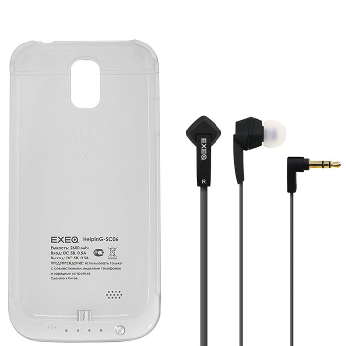 EXEQ HelpinG-SC06 чехол-аккумулятор для Samsung Galaxy S4, White (2600 мАч, клип-кейс) exeq hhc 001 pink наушники