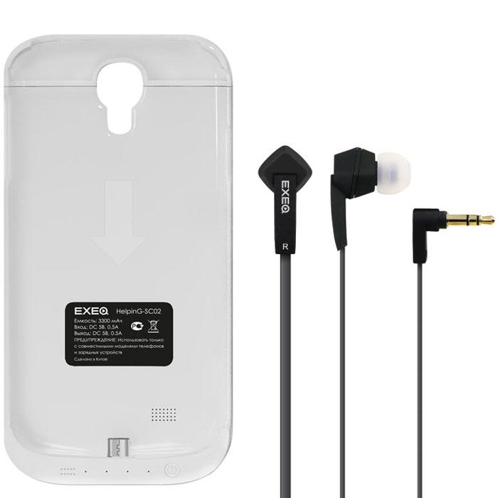 EXEQ HelpinG-SC02 чехол-аккумулятор для Samsung Galaxy S4, White (3300 мАч, клип-кейс)HelpinG-SC02 WHExeq HelpinG-SС02 – компактный и элегантный аксессуар, удачно сочетающий в себе защитный чехол и дополнительную батарею для Samsung Galaxy S4. Лаконичный дизайн чехла позволит легко и быстро поместить смартфон в чехол, а также надежно защитить заднюю панель смартфона от царапин, загрязнений и ударов. Встроенный аккумулятор емкостью в 3300 мАч обеспечит своевременную подзарядку вашему смартфону. Также в конструкции Exeq HelpinG-SС02 имеется специальная откидывающаяся подставка-ножка, которая позволит удобно расположить телефон для просмотра фильма, чтения или набора текста или видео-общения по Skype.Зарядка чехла-аккумулятора Exeq HelpinG-SС02 происходит от зарядного устройства телефона, причем заряжать оба устройства можно не извлекая телефон из чехла. Так для зарядки телефона необходимо подсоединить зарядное устройства к чехлу и нажать кнопку питания на чехле, а для зарядки чехла необходимо просто подсоединить зарядное устройство - и зарядка начнется автоматически. Аналогично происходит и подключение телефона к компьютеру – чехол-аккумулятор Exeq HelpinG обеспечивает идеальную передачу данных между смартфоном и другими электронными устройствами.В комплект также входят высококачественные наушники Exeq HPC-002 с плоским кабелем с защитой от спутывания. Для блокировки нежелательных шумов в комплекте с наушниками поставляются мягкие силиконовые амбушюры 3-х размеров, которые удобно помещаются в ушах и не оказывают давления на ушную раковину. Прочный L-образный штекер с позолоченным коннектором 3,5 мм позволит комфортно подключить Exeq HPC-002 ко многим портативным устройствам.Технические характеристики Exeq HPC-002:Частотный диапазон: 19-20000 ГцДинамики: 10 ммЧувствительность: 105 дБИмпеданс: 16 Ом