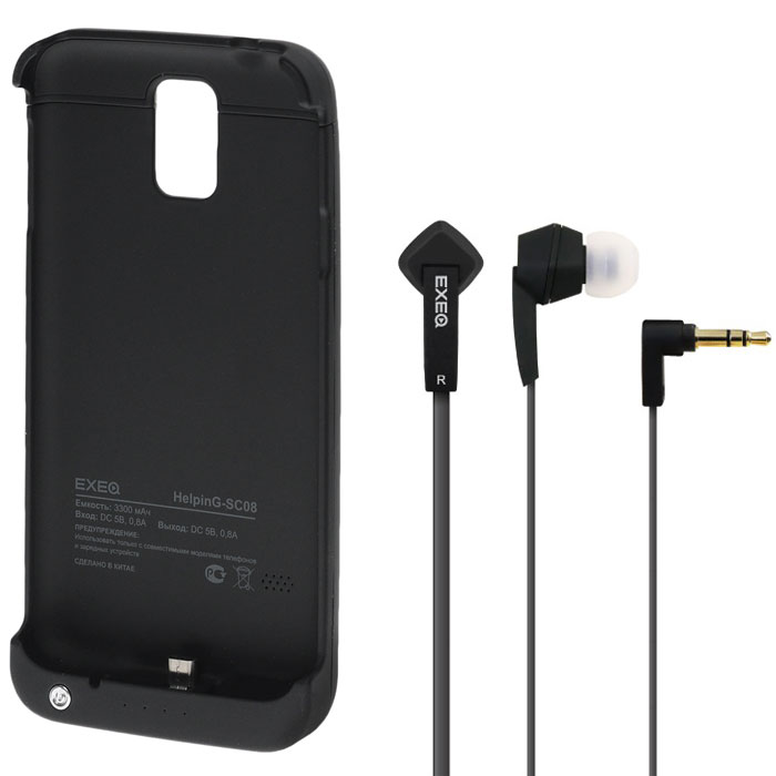 EXEQ HelpinG-SC08 чехол-аккумулятор для Samsung Galaxy S5, Black (3300 мАч, клип-кейс)HelpinG-SC08 BLExeq HelpinG-SС08 – универсальный аксессуар, благодаря которому ваш смартфон не только будет надежно защищен, но и обеспечен своевременной подзарядкой! Exeq HelpinG-SС08 выполнен из прочного прорезиненного пластика, который надежно защитит смартфон от ударов, царапин и загрязнений. Встроенный аккумулятор емкостью в 3300 мАч обеспечит своевременную подзарядку батареи смартфона в самые необходимые моменты его использования.Также чехол Exeq HelpinG-SС08 оборудован встроенной подставкой, которая позволит надежно закрепить телефон в горизонтальном положении, например для просмотра видео, чтения электронных книг. Заряжается чехол-аккумулятор Exeq HelpinG-SС08 от зарядного устройства телефона, причем заряжать оба устройства можно не извлекая телефон из чехла. Так для зарядки телефона просто подсоедините зарядное устройства к чехлу и нажмите кнопку питания на чехле, а для зарядки чехла просто подсоедините зарядное устройство к нему. Аналогично происходит и подключение телефона к компьютеру – чехол-аккумулятор Exeq HelpinG обеспечивает идеальную передачу данных между смартфоном и другими электронными устройствами.В комплект также входят высококачественные наушники Exeq HPC-002 с плоским кабелем с защитой от спутывания. Для блокировки нежелательных шумов в комплекте с наушниками поставляются мягкие силиконовые амбушюры 3-х размеров, которые удобно помещаются в ушах и не оказывают давления на ушную раковину. Прочный L-образный штекер с позолоченным коннектором 3,5 мм позволит комфортно подключить Exeq HPC-002 ко многим портативным устройствам.Технические характеристики Exeq HPC-002:Частотный диапазон: 19-20000 ГцДинамики: 10 ммЧувствительность: 105 дБИмпеданс: 16 ОмДлина кабеля: 1,3 м