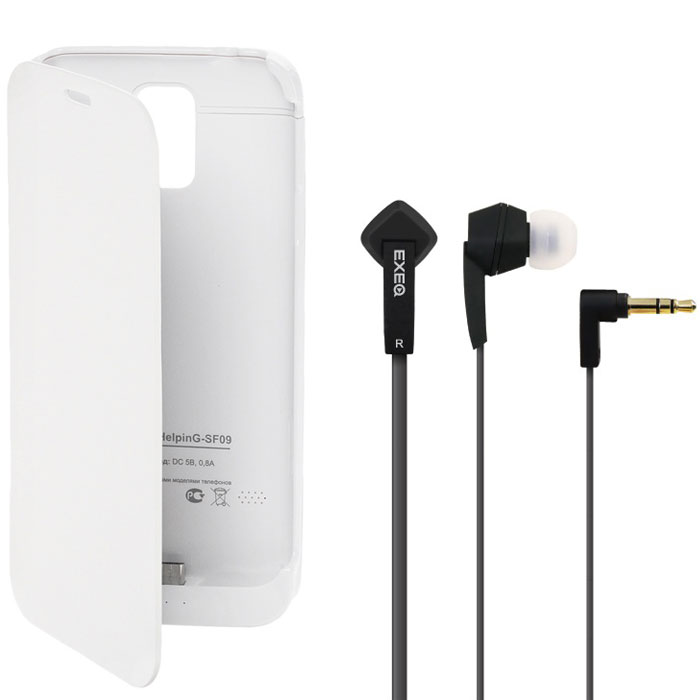 EXEQ HelpinG-SF09 чехол-аккумулятор для Samsung Galaxy S5, White (3300 мАч, флип-кейс) аккумулятор для телефона pitatel seb tp209