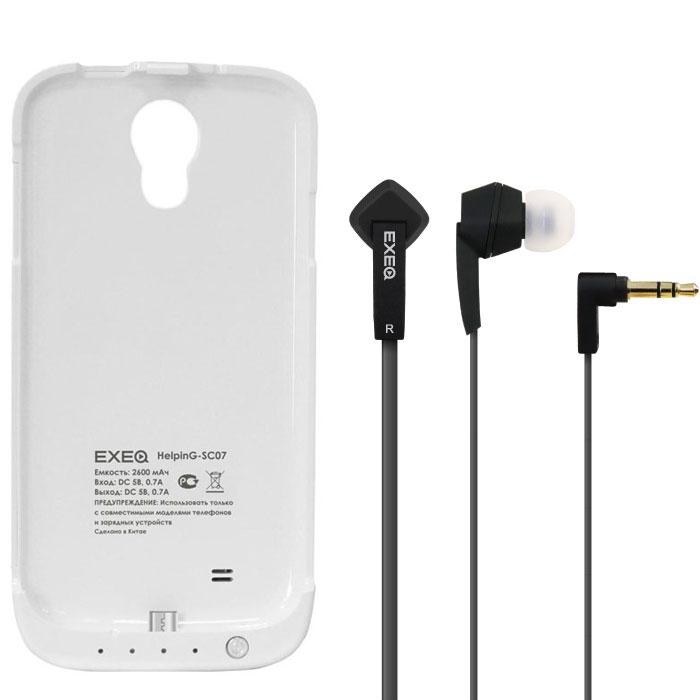 EXEQ HelpinG-SC07 чехол-аккумулятор для Samsung Galaxy S4, White (2600 мАч, клип-кейс)HelpinG-SC07 WHExeq HelpinG-SС07 – стильный и надежный аксессуар для Samsung Galaxy S4. Компактные размеры, элегантный дизайн и прочный материал корпуса позволят Exeq HelpinG-SС07 не только надежно защитит смартфон от ударов, грязи и царапин, но придадут телефону стильный внешний вид! Встроенный аккумулятор емкостью в 2600 мАч обеспечит смартфон своевременной подзарядкой в самые нужные моменты его использования. Специальная металлическая выдвижная подставка позволит удобно расположить телефон при просмотре видео, общении по Skype, чтении книг.Заряжать телефон можно не извлекая его из чехла, просто подключив адаптер смартфона к чехлу-аккумулятору и нажав кнопку питания на чехле (если кнопку не нажимать, то будет происходить зарядка аккумулятора чехла). Также Exeq HelpinG-SС07 обеспечивает идеальную передачу данных при подключении смартфона к компьютеру или другому электронному устройству.В комплект также входят высококачественные наушники Exeq HPC-002 с плоским кабелем с защитой от спутывания. Для блокировки нежелательных шумов в комплекте с наушниками поставляются мягкие силиконовые амбушюры 3-х размеров, которые удобно помещаются в ушах и не оказывают давления на ушную раковину. Прочный L-образный штекер с позолоченным коннектором 3,5 мм позволит комфортно подключить Exeq HPC-002 ко многим портативным устройствам.Технические характеристики Exeq HPC-002:Частотный диапазон: 19-20000 ГцДинамики: 10 ммЧувствительность: 105 дБИмпеданс: 16 ОмДлина кабеля: 1,3 м