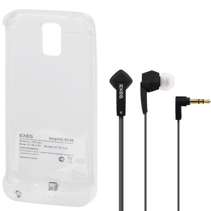 EXEQ HelpinG-SC08 чехол-аккумулятор для Samsung Galaxy S5, White (3300 мАч, клип-кейс)HelpinG-SC08 WHExeq HelpinG-SС08 – универсальный аксессуар, благодаря которому ваш смартфон не только будет надежно защищен, но и обеспечен своевременной подзарядкой! Exeq HelpinG-SС08 выполнен из прочного прорезиненного пластика, который надежно защитит смартфон от ударов, царапин и загрязнений. Встроенный аккумулятор емкостью в 3300 мАч обеспечит своевременную подзарядку батареи смартфона в самые необходимые моменты его использования.Также чехол Exeq HelpinG-SС08 оборудован встроенной подставкой, которая позволит надежно закрепить телефон в горизонтальном положении, например для просмотра видео, чтения электронных книг. Заряжается чехол-аккумулятор Exeq HelpinG-SС08 от зарядного устройства телефона, причем заряжать оба устройства можно не извлекая телефон из чехла. Так для зарядки телефона просто подсоедините зарядное устройства к чехлу и нажмите кнопку питания на чехле, а для зарядки чехла просто подсоедините зарядное устройство к нему. Аналогично происходит и подключение телефона к компьютеру – чехол-аккумулятор Exeq HelpinG обеспечивает идеальную передачу данных между смартфоном и другими электронными устройствами.В комплект также входят высококачественные наушники Exeq HPC-002 с плоским кабелем с защитой от спутывания. Для блокировки нежелательных шумов в комплекте с наушниками поставляются мягкие силиконовые амбушюры 3-х размеров, которые удобно помещаются в ушах и не оказывают давления на ушную раковину. Прочный L-образный штекер с позолоченным коннектором 3,5 мм позволит комфортно подключить Exeq HPC-002 ко многим портативным устройствам.Технические характеристики Exeq HPC-002:Частотный диапазон: 19-20000 ГцДинамики: 10 ммЧувствительность: 105 дБИмпеданс: 16 ОмДлина кабеля: 1,3 м
