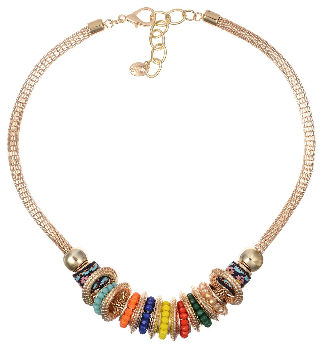 Колье Taya, цвет: мультиколор, золотистый. T-B-10121Колье (короткие одноярусные бусы)Оригинальное колье Taya будет потрясающе смотреться на шее своей обладательницы. Изделие выполнено из металлического сплава в виде цепочки оригинального плетения, на которой свободно перемещаются объемные круглые золотистые кольца, сплетенные из бисера подвески и металлические элементы, украшенные тесьмой. Прелесть этого украшения в том, что любую деталь можно снять и расположить в нужном только вам порядке. Можно даже оставить одно кольцо и носить колье как амулет. Колье застегивается на застежку-карабин с регулирующей длину цепочкой. Такое украшений поможет вам создать уникальный и запоминающийся образ и позволит выделиться среди окружающих.