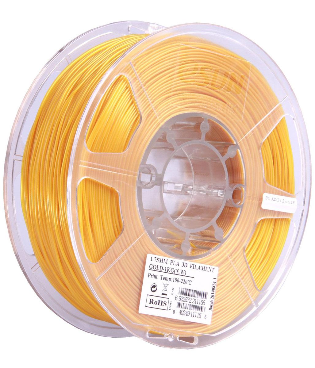 ESUN PLA-пластик в катушке, Gold (PLA175J1)PLA175J1Пластик PLA от ESUN долговечный и очень прочный полимер, ударопрочный, эластичный и стойкий к моющим средствам и щелочам. Один из лучших материалов для печати на 3D принтере. Пластик не имеет запаха и не является токсичным. Температура плавления190-220°C. PLA пластик для 3D-принтера применяется в деталях автомобилей, канцелярских изделиях, корпусах бытовой техники, мебели, сантехники, а также в производстве игрушек, сувениров, спортивного инвентаря, деталей оружия, медицинского оборудования и прочего.Диаметр нити: 1.75 мм