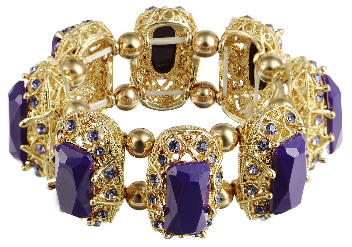 Браслет Taya, цвет: золотистый, пурпурный. T-B-7402Браслет с подвескамиСтильный браслет Taya выполнен из бижутерийного сплава. Элементы оригинальной формы оформлены вставками граненых камней и сияющих стразов.Благодаря эластичной основе и подвижным элементам изделие идеально разместиться на запястье.Такой браслет позволит вам с легкостью воплотить самую смелую фантазию и создать собственный, неповторимый образ.