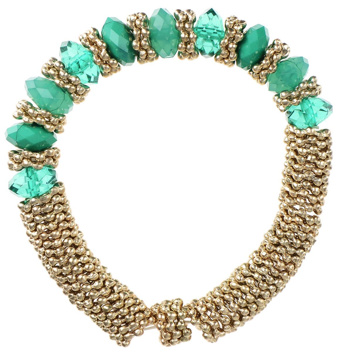 Браслет Taya, цвет: золотистый, зеленый. T-B-5542Глидерный браслетСтильный браслет Taya выполнен из бижутерийного сплава и пластика. Элементы в форме снежинок и граненые бусины собраны на эластичной резинке.Благодаря эластичной основе и подвижным элементам изделие идеально разместиться на запястье.Такой браслет позволит вам с легкостью воплотить самую смелую фантазию и создать собственный, неповторимый образ.