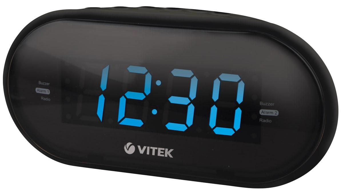 Vitek VT-6602(BK) радиочасыVT-6602(BK)Vitek VT-6602(BK) - оптимальный вариант для тех, кто не любит обилие разной техники в доме. Ведь данное устройство является не только часами, которые показывают время на электронном табло. Оно совмещают в себе функцию будильника и радиоприемника. Встроенный цифровой тюнер поддреживает диапазоны FM и AM. Радиочасы также имеют крупный 1,2-дюймовы дисплей. Из дополнительных функций можно выделить возможность сохранения настроек 10 радиостанций в обоих диапазонах, двойной будильник и режим короткого сна.Резервное питание: 2 батарейки типа ААА (не входят в комплект)