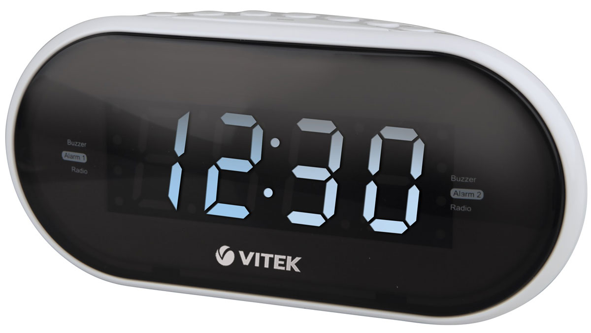 Vitek VT-6602(W) радиочасыVT-6602(W)Vitek VT-6602(W) - оптимальный вариант для тех, кто не любит обилие разной техники в доме. Ведь данное устройство является не только часами, которые показывают время на электронном табло. Оно совмещают в себе функцию будильника и радиоприемника. Встроенный цифровой тюнер поддреживает диапазоны FM и AM. Радиочасы также имеют крупный 1,2-дюймовы дисплей. Из дополнительных функций можно выделить возможность сохранения настроек 10 радиостанций в обоих диапазонах, двойной будильник и режим короткого сна.Резервное питание: 2 батарейки типа ААА (не входят в комплект)