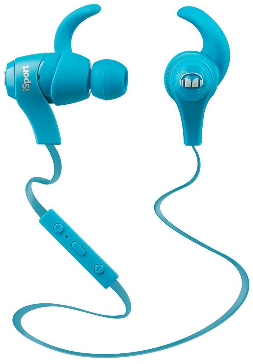 Monster iSport Wireless, Blue Bluetooth-гарнитура128659Отличные беспроводные вставные наушники для спорта Monster iSport Wireless с непревзойденным звуком с технологией Pure Monster Sound. Они надежно крепятся в ухе, не отвлекая вас во время интенсивных тренировок.Технология Pure Monster Sound:Усиленные басы, чистейшие верхние частоты и широкий динамический диапазон- все это возможно благодаря технологии Pure Monster Sound. Ваша любимая музыка зазвучит в этих беспроводных наушниках с новой мощью. Суперлегкий вес:Наушники? Какие наушнкии? Эти наушники настолько легкие, что вы забудете о них почти сразу, как оденете.Специальные крепления по форме уха:В комплекте специальные крепления разных размеров, надежно закрепляющие посадку наушника в ухе.Управление функциями с помощью ControlTalk:Одним касанием вы сможете переключаться между вызовами и музыкальными треками, а также управлять громкостью. Беспроводной звук, не уступающий по качеству проводному:Везде, где бы вы не использовали беспроводные Bluetooth-наушники iSport Wireless, онивсегда звучат так же хорошо, как и проводные.Крепление, устойчивое к действию пота:Эти спортивные наушники не выпадут и не сместятся даже при самых изнурительных тренировках, благодаря водостойкому ушному креплению. С ними вы гарантированно получите отличный спортивный результат.