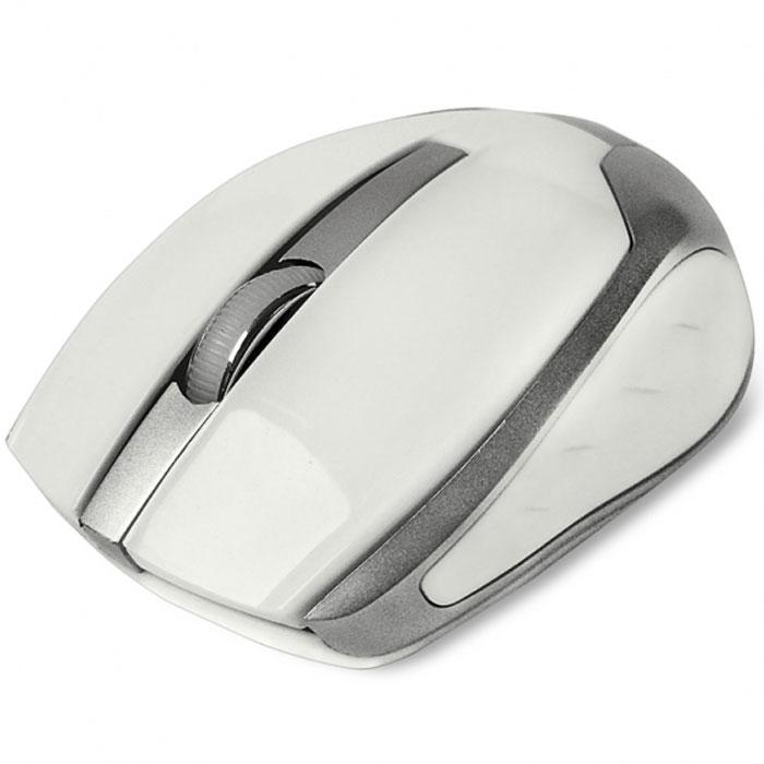 CBR CM 422, White мышь беспроводнаяCM 422 WhiteCBR CM 422 - это яркая представительница в линейке беспроводных мышей. Среднеразмерный корпус выполнен из глянцевого пластика с вставками металлик. Благодаря симметричному корпусу, устройство подойдет как для правшей, так и для левшей. Особенностью этой модели является сочетание серьезного оптического сенсора 1600 dpi, обеспечивающего высокую точность позиционирования курсора, и длительного срока работы батареи. Оптимизированное энергопотребление позволяет одной батарейке прослужить до 36 месяцев.Это расчетная величина для источника питания с емкостью не менее 2700 мА/ч. Мышь подключается к компьютеру при помощи USB-адаптера, входящего в комплект, использует рабочую частоту 2,4 МГц с эффективным рабочим радиусом до 10 м.