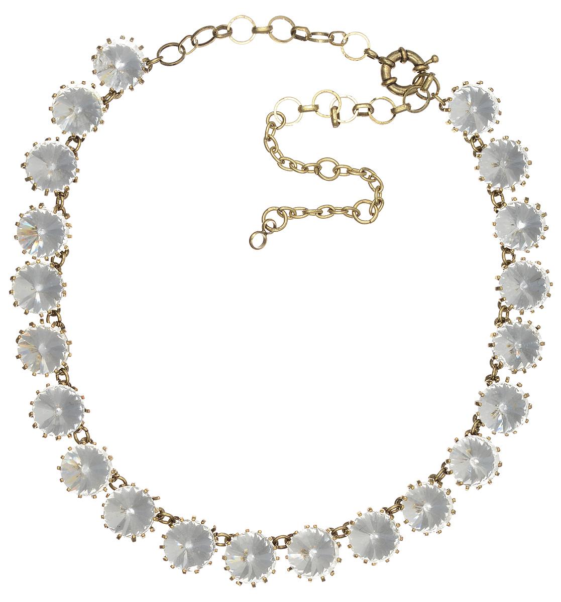 Ожерелье Taya, цвет: золотистый, белый. T-B-7665Бусы-ошейникЭлегантное ожерелье Taya выполнено из бижутерийного сплава. Изделие оформлено стразами из стекла.Ожерелье застегивается на практичный замок-карабин, длина изделия регулируется за счет дополнительных звеньев.Ожерелье Taya выгодно подчеркнет изящество, женственность и красоту своей обладательницы.