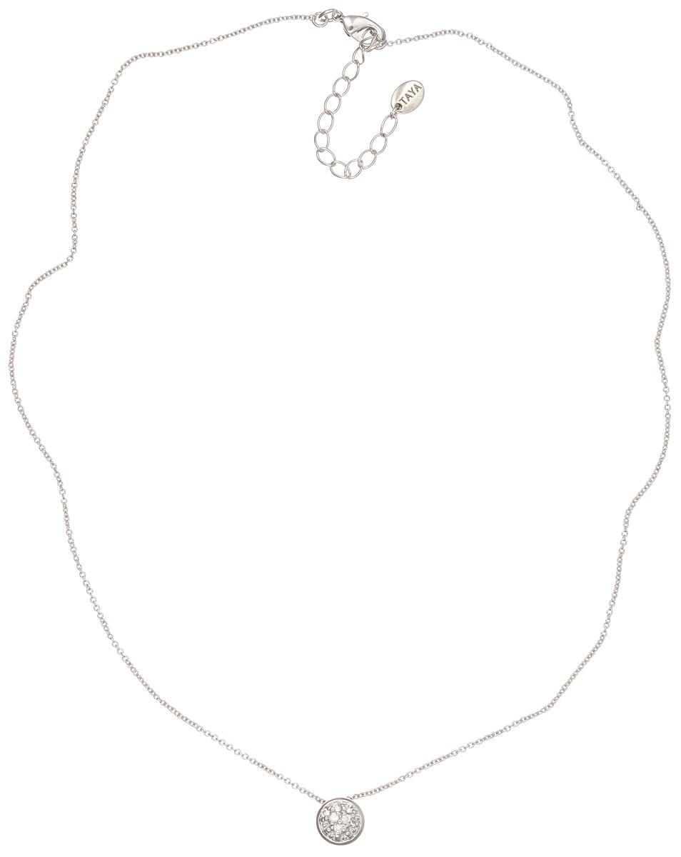 Колье Taya, цвет: серебристый. T-B-4804Колье (короткие одноярусные бусы)Элегантное колье Taya выполнено из бижутерийного сплава с гальваническим покрытием родием. Колье дополнено подвеской оригинальной формы, которая оформлена цирконами.Колье застегивается на практичный замок-карабин, длина изделия регулируется за счет дополнительных звеньев.Колье Taya выгодно подчеркнет изящество, женственность и красоту своей обладательницы.