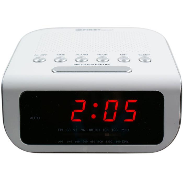 First FA-2406-1, White радиочасыFA-2406-1 WhiteFirst FA-2406-1 - радиочасы с LED-дисплеем диагональю 0,6 дюйма. Устройство имеет кварцевый стабилизатор, а также дополнительные функции: подъем под музыку или звонок, отключение музыки. Вы также можете активировать отложенный сигнал чтобы поспать еще немного времени. Будильник отключится и прозвенит через 9 минут.Резервное питание: 3 батарейки CR2025 (в комплект не входит)