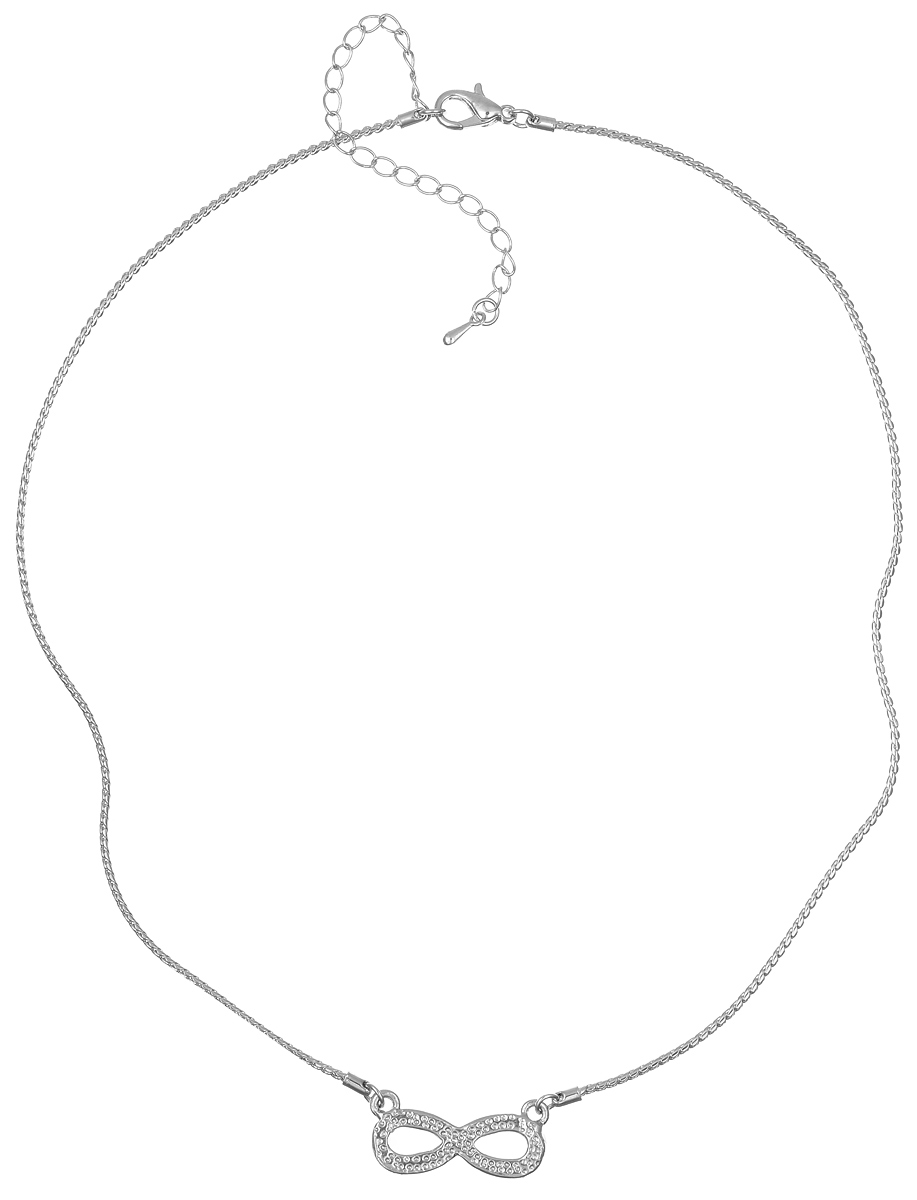 Колье Taya, цвет: серебристый. T-B-6166Колье (короткие одноярусные бусы)Элегантное колье Taya выполнено из бижутерийного сплава. Колье дополнено подвеской в виде символа бесконечности, которая оформлена стеклянными стразами.Колье застегивается на практичный замок-карабин, длина изделия регулируется за счет дополнительных звеньев.Колье Taya выгодно подчеркнет изящество, женственность и красоту своей обладательницы.