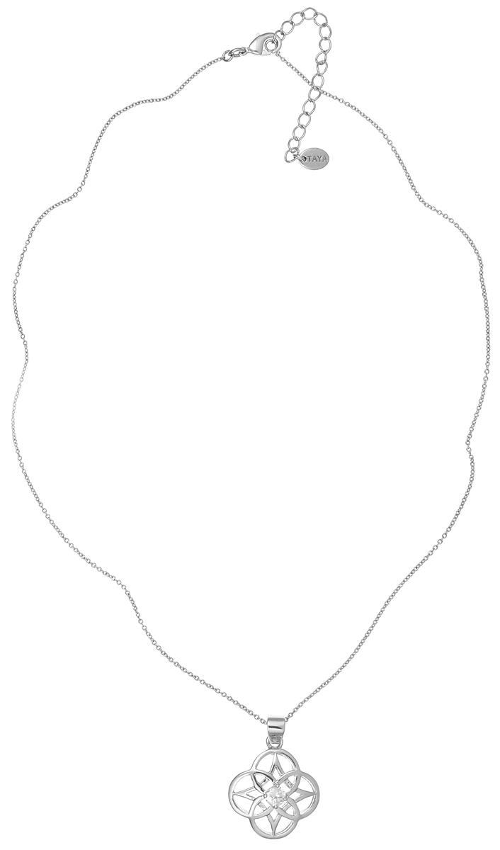 Колье Taya, цвет: серебристый. T-B-4739Колье (короткие одноярусные бусы)Великолепное колье Taya выполнено из металлического сплава с родиевым и серебряным покрытием. Изделие представляет собой цепочку тонкого плетения с кулоном, украшенным прозрачным цирконом. Колье застегивается при помощи замка-карабина. Длина колье регулируется. Такое колье подойдет как для вечернего образа, так и на каждый день для завершения вашего наряда.