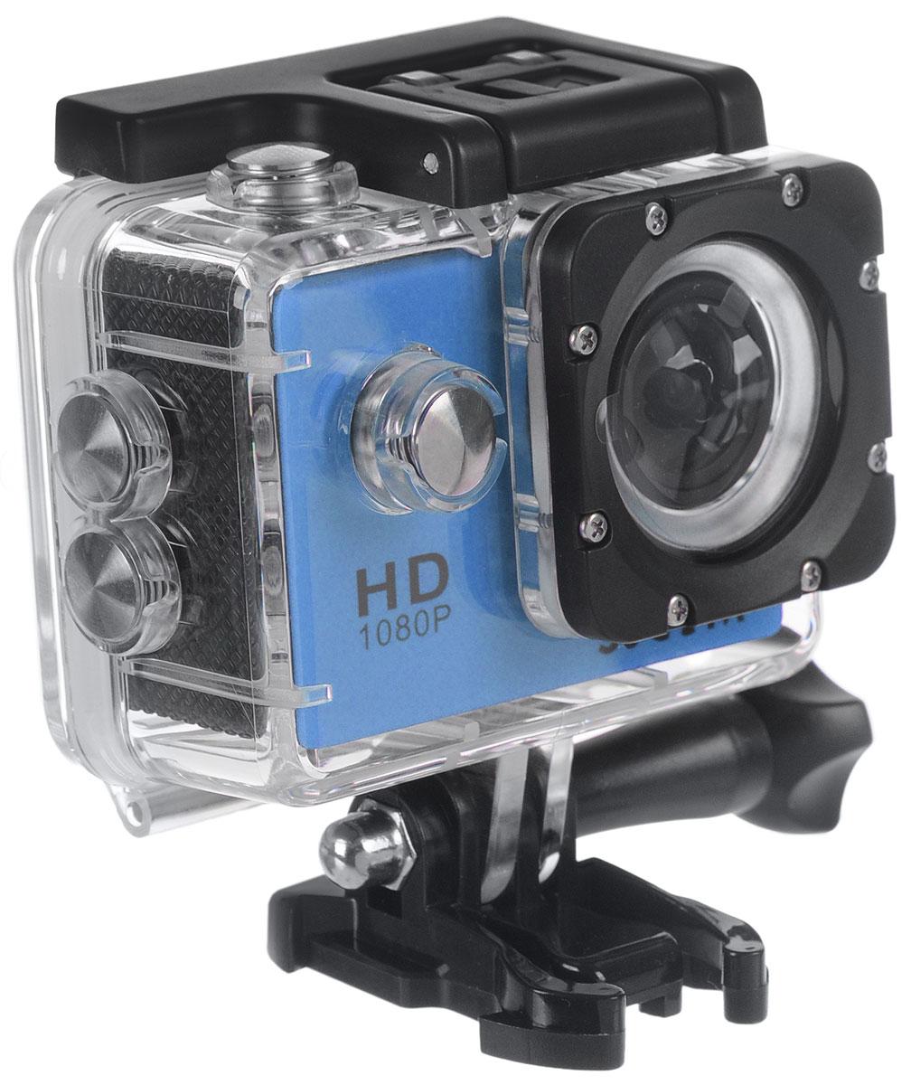 SJCAM SJ4000, Blue экшн-камера00000044947SJCAM SJ4000 - это недорогой и качественный аналог GoPro. С ее помощью можно снимать экстремальные события, закрепив камеру в удобном месте. Вы также можете делать впечатляющие съёмки под водой на глубине до 30 метров благодаря водонепроницаемому боксу в комплекте.Благодаря режиму цейтаоферной съёмки камера SJCAM может сжимать многочасовые события (например, расцветающую розу) до нескольких секунд. Теперь восход солнца после съёмки произойдёт прямо на глазах ваших друзей! SJCAM SJ4000 может быть использована в качестве видеорегистратора благодаря возможности циклической записи. Для этого разместите её на стекле автомобиля с помощью специального крепления и нажмите на кнопку записи.Данную модель можно использовать и в качестве Full HD веб-камеры. Всё, что необходимо сделать - это подключить SJCAM к компьютеру через кабель USB и запустить Skype.Камера SJ4000 подойдёт практически для любых видов спорта. В комплекте вы найдёте крепления на велосипед, на шлем, липучки и ремни, позволяющие закрепить камеру на любые поверхности.Процессор: Novatek NT96650Дисплей: LCD, 1,5 (4:3)Емкость аккумулятора: 900 мАчВремя автономной работы: до 80 минут
