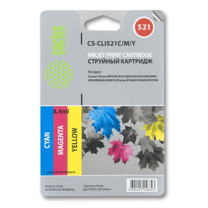 Cactus CS-CLI521C/M/Y, Color комплект цветных картриджей для Canon Pixma MP540/ MP550/ MP620/ MP630CS-CLI521C/M/YКаждый, кто пользуется печатающими устройствами знает, что они не обходятся без расходных материалов. Ощутите надежное и профессиональное качество печати с Cactus CS-CLI521C/M/Y. С этим комплектом картриджей значительно увеличится эффективность работы, так как их ресурса хватит на длительный период.Подходит для Canon Pixma 3600 iP4600 / iP4700 / MP540 / MP550 / MP560 / MP620 / MP630 / MP640 / MP980 / MP990 / MX860 / MX870