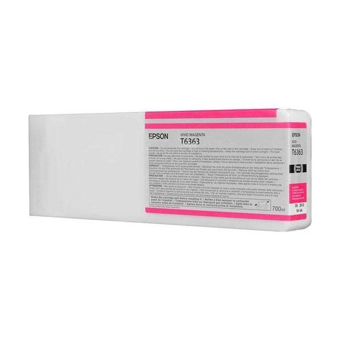 Epson T6363 (C13T636300), Vivid Magenta картридж для Stylus Pro 7900/9900C13T636300Картридж Epson T6363 для Stylus Pro 7900/9900 с пурпурными чернилами предназначен для печати на глянцевых носителях. Он служит для печати превосходных фотоснимков и рассчитан на 700 мл.