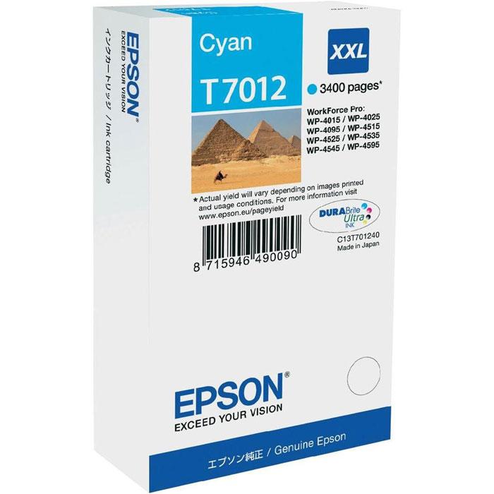 Epson T7012 XXL (C13T70124010), Cyan картридж для WorkForce Pro WP-4000/5000 seriesC13T70124010Картридж Epson T7012 XXL экстраповышенной емкости с голубыми чернилами для Epson WorkForce Pro WP-4000/5000 series служит для печати превосходных фотоснимков и рассчитан на 3 400 страниц печати.