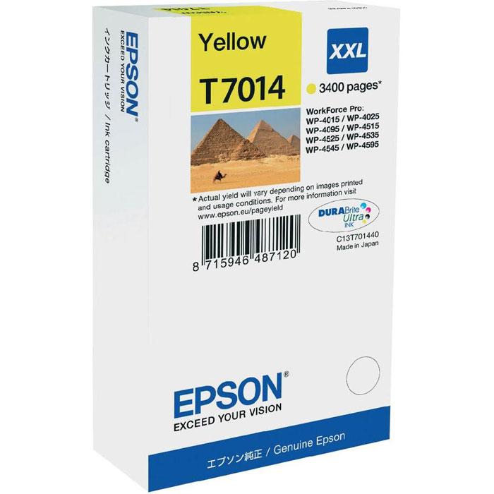Epson T7014 XL (C13T70144010), Yellow картридж для WorkForce Pro WP-4000/5000 seriesC13T70144010Картридж Epson T7014 XL экстраповышенной емкости с голубыми чернилами для Epson WorkForce Pro WP-4000/5000 series служит для печати превосходных фотоснимков и рассчитан на 3 400 страниц печати.