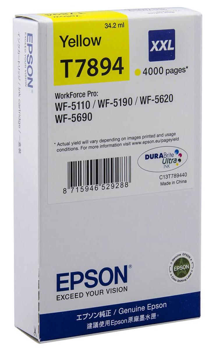 Epson T7894 XXL (C13T789440), Yellow картридж для WorkForce Pro WF-5xxxC13T789440Картридж экстраповышенной емкости Epson T7894 XXL с желтыми чернилами для Epson WorkForce Pro служит для печати превосходных фотоснимков и рассчитан на 4000 страниц печати.