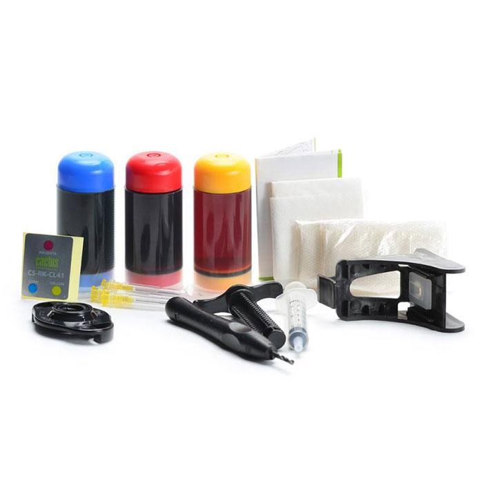 Cactus CS-RK-CL41, Color заправка для Canon MP150/ MP160/ MP170/ MP180/ MP210CS-RK-CL41Заправочный комплект Cactus CS-RK-CL41 для перезаправляемых картриджей Canon Pixma MP150/ MP160/ MP170/ MP180/ MP210/ MP220/ MP450/ MP460/ MP470; iP1200/ iP1600/ iP1700/ iP1800/ iP190.Расходные материалы Cactus для печати максимизируют характеристики принтера. Обеспечивают повышенную четкость изображения и плавность переходов оттенков и полутонов, позволяют отображать мельчайшие детали изображения. Обеспечивают надежное качество печати.