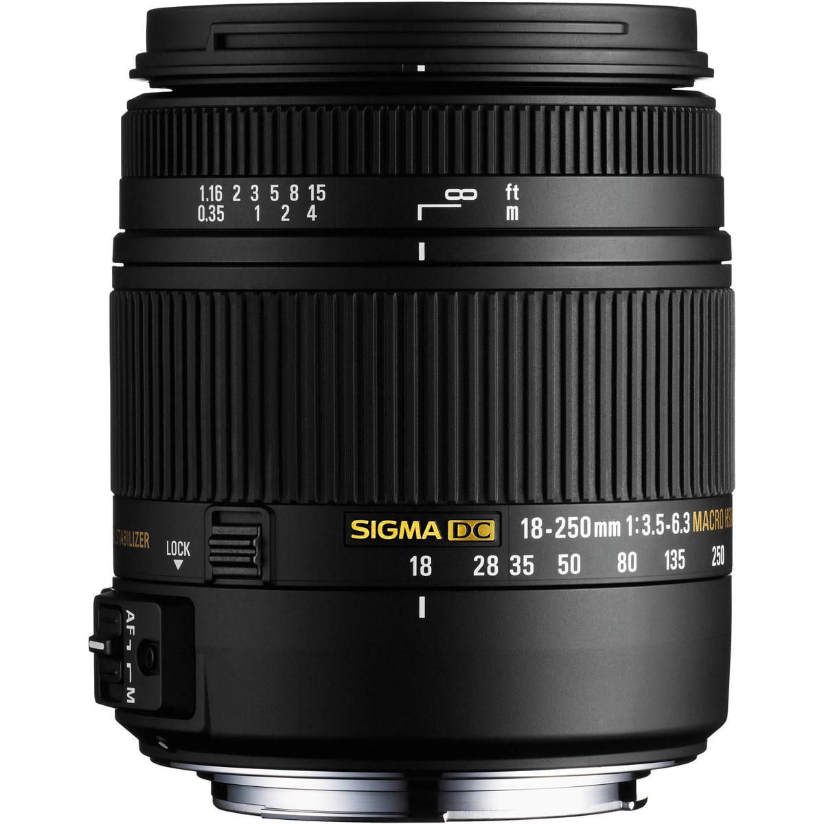 SigmaAF18-250mmF3.5-6.3DCMACROOSHSM, Black объектив для Nikon883955Как наследник известного SIGMA 18-250mm F3.5-6.3 DC OS HSM, объективSIGMA 18-250mm F3.5-6.3 DC MACRO OS HSM символизирует новое поколение ультразумов с высоким качеством изображения и, в тоже время, с компактными размерами и низким весом. Полностью переработана конструкция объектива. Специальное низкодисперсное стекло SLD превосходно устраняет цветовые аберрации. Три асферические линзы, включая одну двухстороннюю асферическую линзу, совместно с использованием передовой оптической конструкции, предотвращают и корректируют все типы оптических искажений, включая астигматизм.Оптимизирована электрическая частьУлучшены возможности фотосъемки с минимальных дистанцийПрименен новый термостабильный композит TSCПримерно на 25% легче и компактнее существующих аналогов