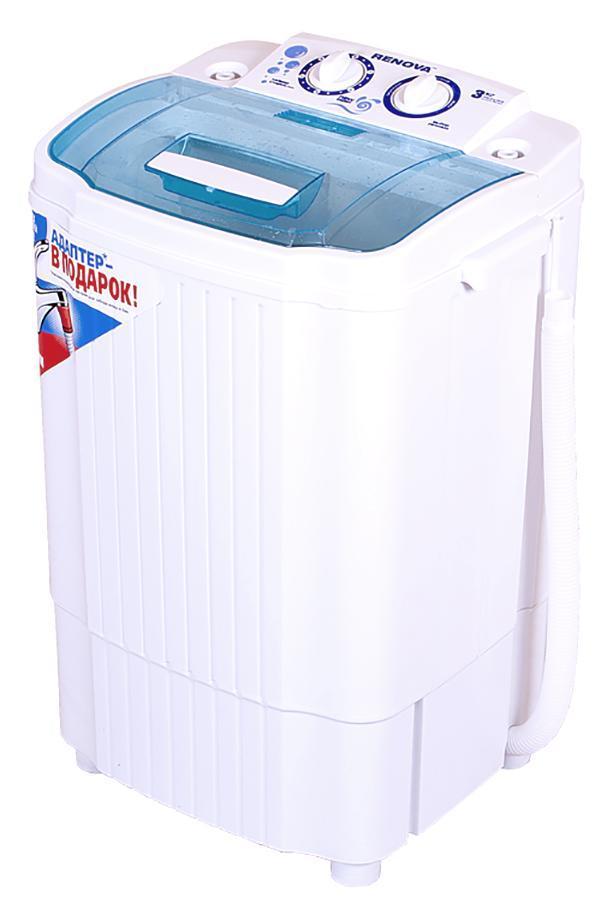 Renova WS-30ET стиральная машина4650000914508Стиральная машина полуавтомат RENOVA WS-30ET российскогопроизводства с вертикальной загрузкой имеет бак объемом 3 кг, а такжемеханическое управление. Новый, более мощный двигатель, повышаетэффективность стирки. Эксклюзивная форма активатора направленнораспределяет потоки воды, что улучшает качество стирки.Класс энергоэффективности: А+Загрузка сухого белья в бак до 3.0 кгПотребляемая мощность: 200 ВтТаймер стиркиПластиковый корпус, не подверженный коррозииМасса НЕТТО: 6,7 кг Масса БРУТТО: 7,6 кг Габариты (ширина/глубина/высота): 410 х 330 х 635ммРазмеры упаковки: 440 x 365 x 650 ммСделано в России