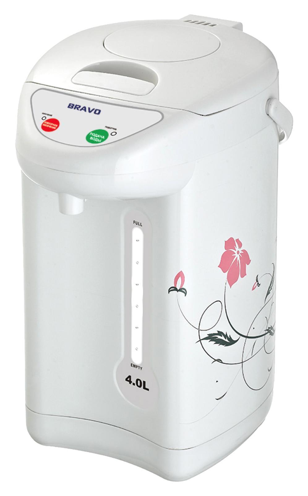 Bravo TL-40F термопот4627090740270Мощность: 800 ВтОбъем: 4 лПоворот на 360грВнутренняя емкость: нержавеющая стальФункция повторного кипячения Подача воды: 3 способа (ручной/автоматический/нажатие чашкой)Поддержание температурыЗащита от включения без воды Шкала уровня воды