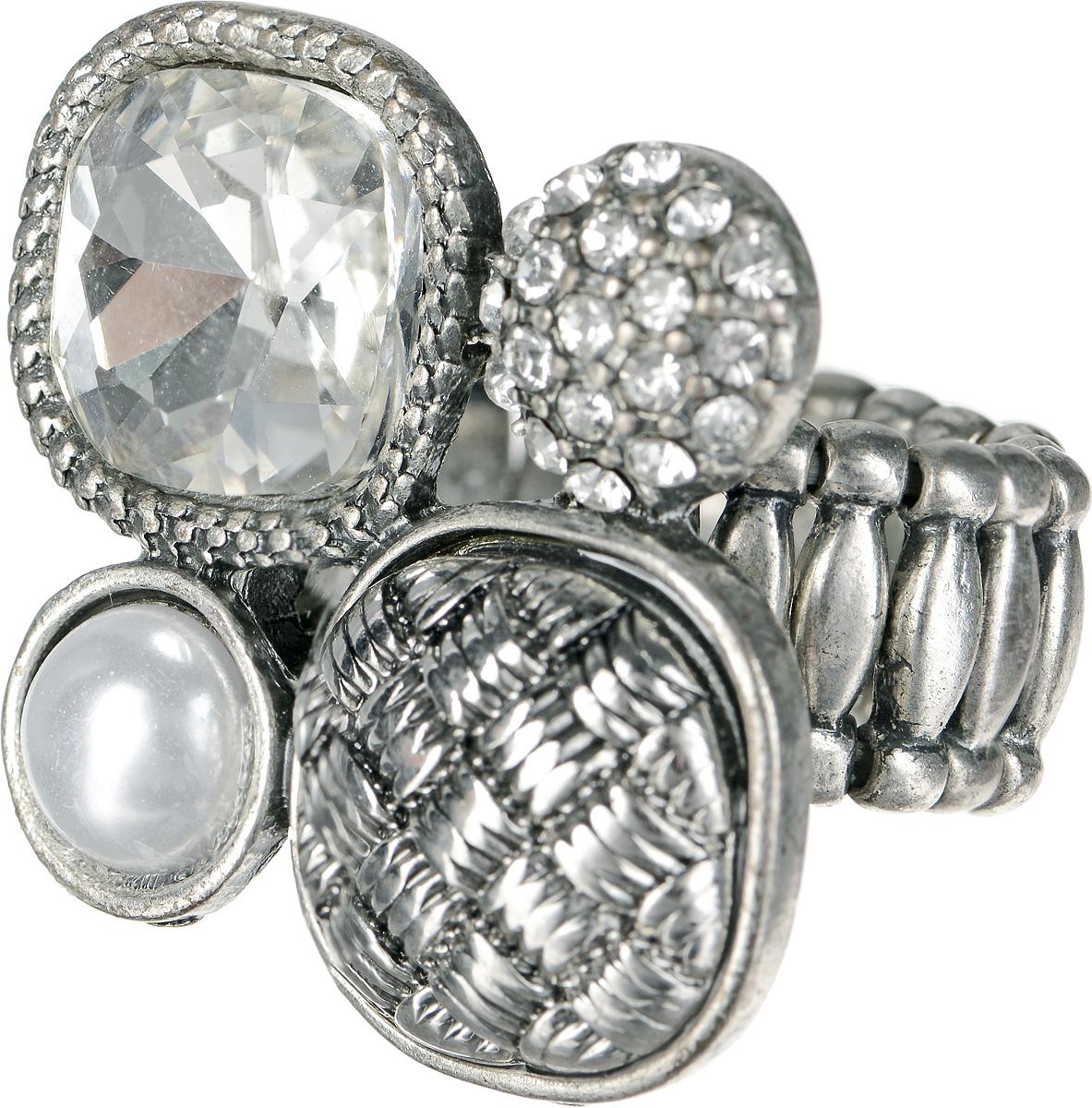 Кольцо Taya, цвет: серебристый. T-B-1191Коктейльное кольцоКольцо Taya выполнено из бижутерийного сплава и оформлено оригинальным декоративным элементом, который дополнен стразами, граненым камнем и перламутровой полубусиной.Эластичная резинка, которая дополняет основание изделия, делает размер кольца универсальным.Элегантное кольцо Taya выгодно подчеркнет изящество, женственность и красоту своей обладательницы.