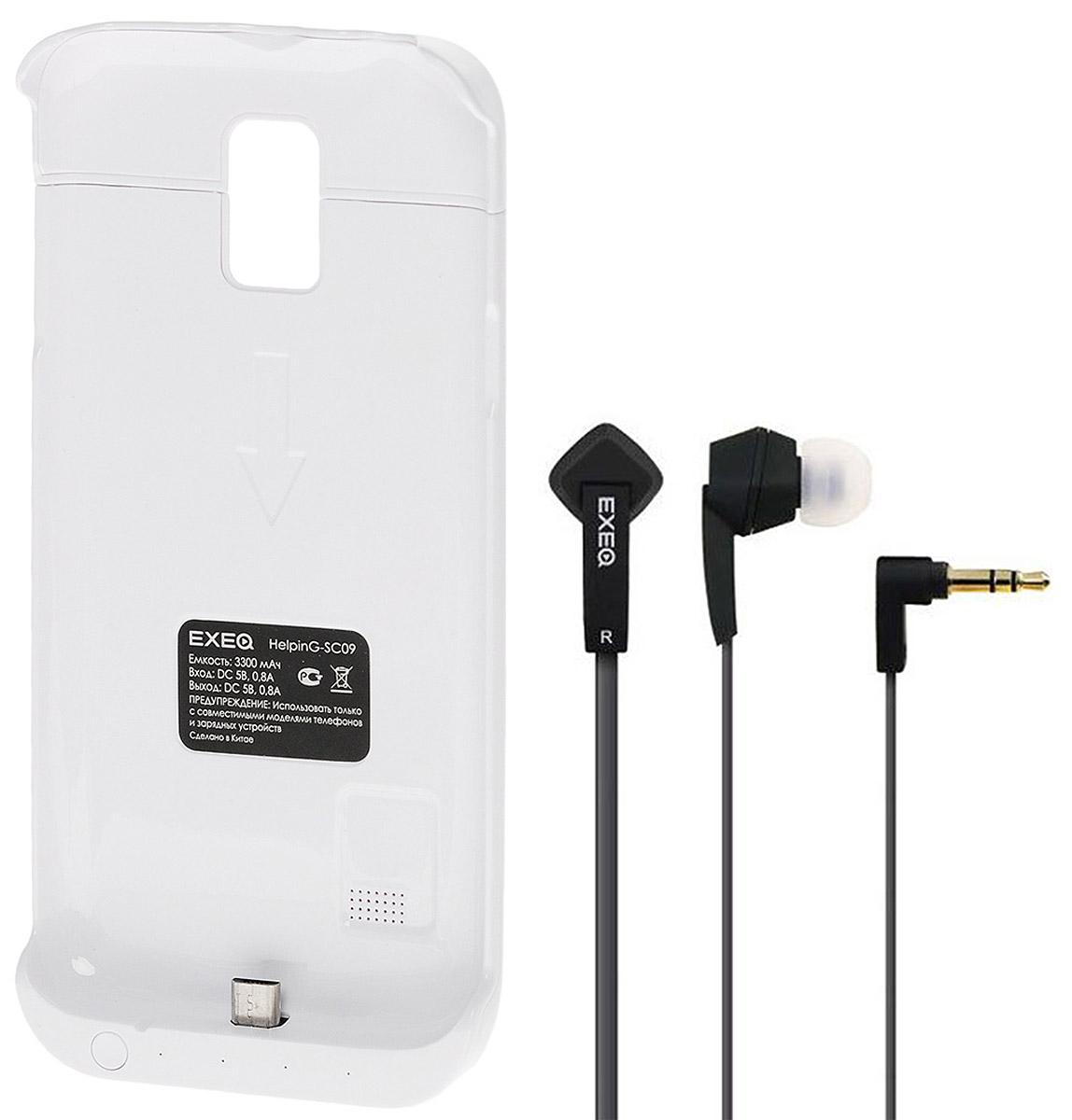 EXEQ HelpinG-SC09 чехол-аккумулятор для Samsung Galaxy S5 mini, White (3300 мАч, клип-кейс)HelpinG-SC09 WHExeq HelpinG-SC09 - компактный и надежный чехол-аккумулятор для Samsung Galaxy S5 mini. Как чехол Exeq HelpinG-SC09 надежно защитит заднюю панель вашего смартфона от ударов, царапин и загрязнений, как внешний аккумулятор с емкостью в 3300 мАч Exeq HelpinG-SC09 обеспечит дополнительную подпитку батареи смартфона в самые необходимые моменты. При этом чехол-аккумулятор имеет настолько компактные размеры, что его подсоединение практически не повлияет на габариты самого смартфона. Да и весит чехол с аккумулятором всего 69 г, что также не сильно утяжелит ваш любимый смартфон.В качестве приятного дополнения Exeq HelpinG-SC09 имеет выдвижную подставку. Специальная конструкция чехла с выдвижной верхней частью позволит удобно и надежно поместить телефон в чехол, а при необходимости, легко и быстро достать телефон из чехла. Хотя извлекать телефон из надежного аксессуара вам вряд ли понадобится - заряжать телефон можно непосредственно в чехле, подключив к нему зарядное устройство телефона и нажав кнопку питания на чехле. Если кнопку питания не нажимать, то будет происходить зарядка чехла-аккумулятора. Состояние уровня заряда батареи чехла-аккумулятора отражают 4 индикатора на нижней части корпуса аксессуара (каждый индикатор отвечает за уровень батареи в 25%).В комплект также входят высококачественные наушники Exeq HPC-002 с плоским кабелем с защитой от спутывания. Для блокировки нежелательных шумов в комплекте с наушниками поставляются мягкие силиконовые амбушюры 3-х размеров, которые удобно помещаются в ушах и не оказывают давления на ушную раковину. Прочный L-образный штекер с позолоченным коннектором 3,5 мм позволит комфортно подключить Exeq HPC-002 ко многим портативным устройствам.Технические характеристики Exeq HPC-002:Частотный диапазон: 19-20000 ГцДинамики: 10 ммЧувствительность: 105 дБИмпеданс: 16 ОмДлина кабеля: 1,3 м