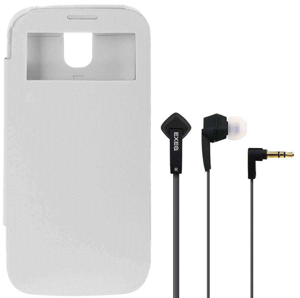 EXEQ HelpinG-SF07 чехол-аккумулятор для Samsung Galaxy S4, White (2600 мАч, Smart cover, флип-кейс)HelpinG-SF07 WHExeq HelpinG-SF07 - надежный аксессуар для Samsung Galaxy S4, удачно сочетающий в себе защитный пластиковый чехол и дополнительный аккумулятор! Exeq HelpinG-SF07 оборудован встроенным аккумулятором, который позволит повысить работоспособность Вашего смартфона практически вдвое. Специальная конструкция и лаконичный дизайн Exeq HelpinG-SF07 обеспечат надежную защиту смартфона от царапин, острых предметов и прочих внешних воздействий. А для защиты дисплея чехол оснащен не простой откидной крышкой, а Smart-cover - она не только надежно защитит дисплей от загрязнений, пыли и царапин, но позволит регулировать работу экрана.Компактные размеры чехла позволят удобно и быстро поместить смартфон в чехол, а также совсем незначительно увеличат размеры и вес самого смартфона. Exeq HelpinG- SF07 станет просто великолепным аксессуаром для активных пользователей Samsung Galaxy S4, а также для тех, кто много времени проводит в дороге или собирается на отдых.Зарядка чехла-аккумулятора происходит от зарядного устройства телефона в течение 3,25 часа, при этом аппарат из чехла доставать не нужно. Достаточно просто подсоединить зарядное к чехлу и зарядка начнется автоматически. Для зарядки телефона необходимо подсоединить зарядное устройство к чехлу и нажать на кнопку питания на чехле.В комплект также входят высококачественные наушники Exeq HPC-002 с плоским кабелем с защитой от спутывания. Для блокировки нежелательных шумов в комплекте с наушниками поставляются мягкие силиконовые амбушюры 3-х размеров, которые удобно помещаются в ушах и не оказывают давления на ушную раковину. Прочный L-образный штекер с позолоченным коннектором 3,5 мм позволит комфортно подключить Exeq HPC-002 ко многим портативным устройствам.Технические характеристики Exeq HPC-002:Частотный диапазон: 19-20000 ГцДинамики: 10 ммЧувствительность: 105 дБИмпеданс: 16 Ом