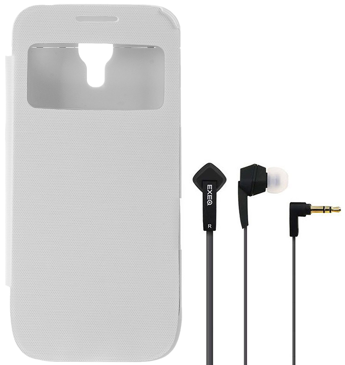 где купить  EXEQ HelpinG-SF04 чехол-аккумулятор для Samsung Galaxy S4 mini, White (2200 мАч, флип-кейс)  дешево