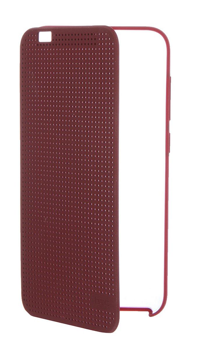 HTC HC M272 Dot View чехол для One A9, Dark Red99H11979-00HTC HC M272 Dot View - фирменный чехол-раскладушка для One A9 - позволяет пользователю взаимодействовать с телефоном, не открывая крышку аксессуара.Лицевая сторона чехла выполнена из перфорированного пластика, сквозь отверстия которого хорошо просматривается информация на главном экране. При надетом чехле смартфон распознает аксессуар и включает специальный режим отображения данных.Чехол позволяет принимать звонки, получать уведомления о входящих звонках и сообщениях, состоянии аккумулятора. Двойным постукиванием по поверхности HTC Dot View включается Motion Launch и позволяет включить и выключить индикацию времени и погоды. Если провести по чехлу сверху вниз, активируется голосовой поиск.