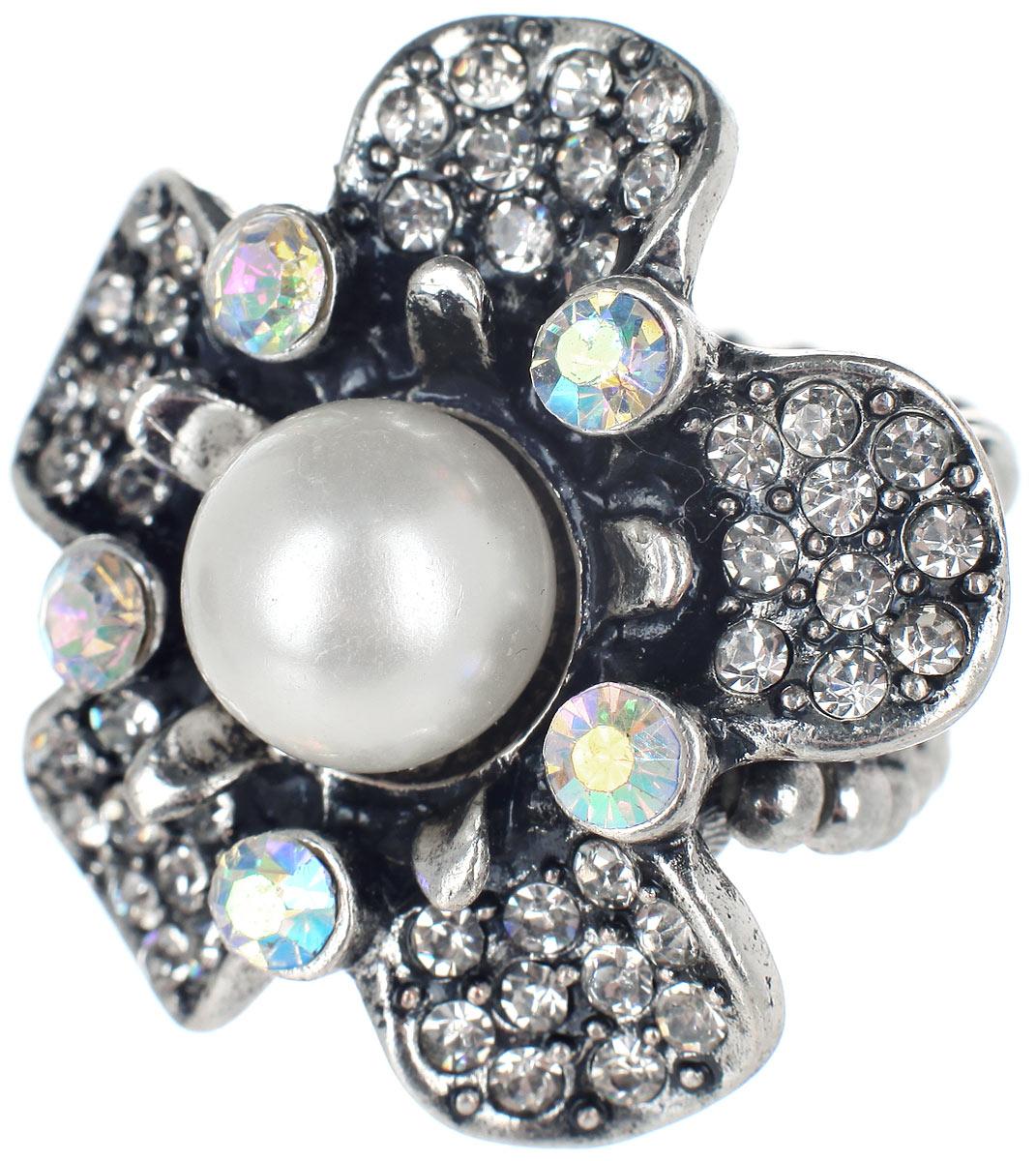 Кольцо Taya, цвет: серебристый, белый. T-B-7330Коктейльное кольцоСтильное кольцо Taya, выполненное из металлического сплава в форме цветка, оформлено бусиной и стразами. Элементы кольца соединены между собой при помощи тонкой резинки, благодаря которой изделие имеет универсальный размер. Его легко снимать и надевать.Такое кольцо внесет изюминку в любой образ и подчеркнет индивидуальность.