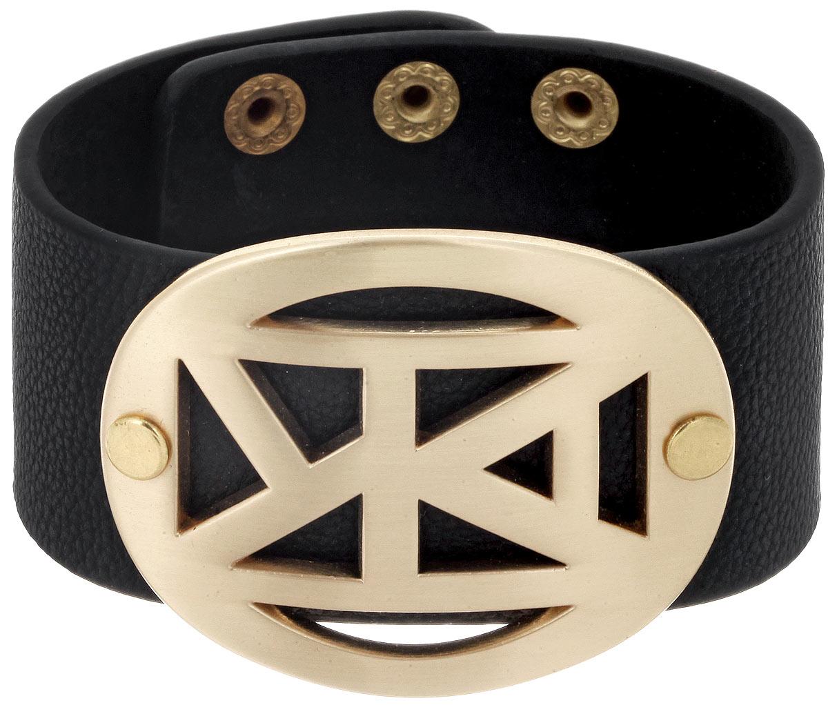 Браслет Taya, цвет: золотистый, черный. T-B-5487Браслет с подвескамиСтильный женский браслет Taya выполнен из искусственной кожи и дополнен декоративным металлическим элементом. Застегивается на кнопки и имеет три позиции для регулировки размера.Такой браслет внесет изюминку в любой образ и подчеркнет индивидуальность.